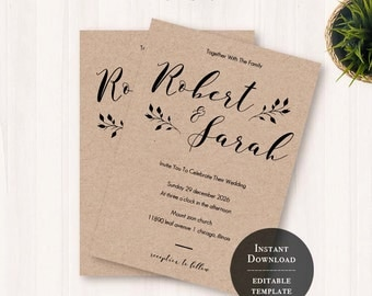 Kraft wedding invite Etsy