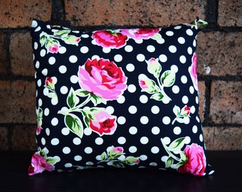Polka dot and Roses decorative pillow