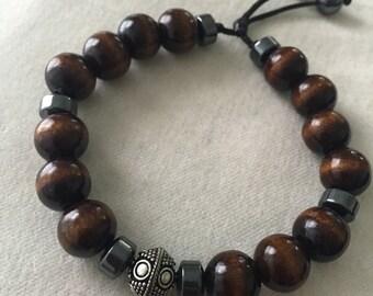 Wood,hematite and bali beads