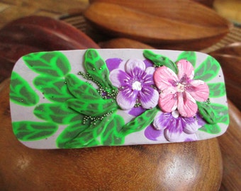 Hair barrette Flowers barrette Clip barrette Polymer clay Handmade Delicate violet and pink flowers green leaves Unique gift