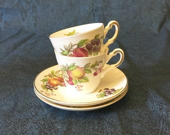 Vintage Fruit Motif Bone China Tea Cups, Set of 2, Regency Tea Cup, Heirloom China