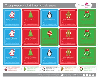 Your personal Christmas present labels (40 qty) Free Shipping
