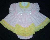 Adult Sissy Pink Gingham and Yellow Ruffles Baby Dress~ABDL dressup Ruffle Panties diaper cover Cotton Summer Dress