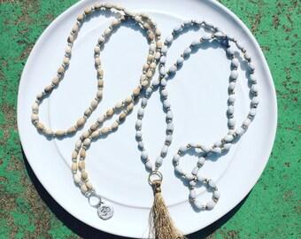 Delynda // Seed bead tassel necklace