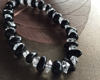 Black Tourmaline and Herkimer Diamond Bracelet