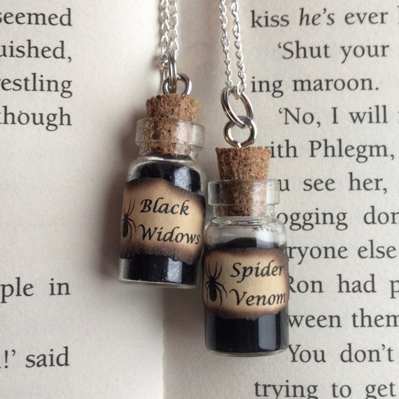 Black Widows & Spider Venom Bottle Necklace / Pendant / Bookmark / Earrings / Decoration / Keyring
