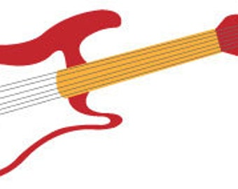 Red Electric Guitar Vector Illustration Clip Art/ digital download/ music clip art/ musical instrument illustration in JPEG and PNG