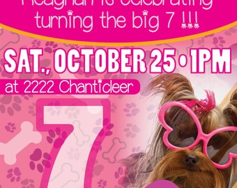 Pink Puppy Birthday Invitation
