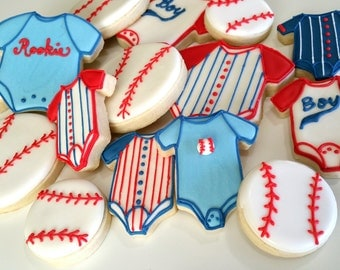 Base Ball Baby Shower,Sport Theme Baby Shower Cookies, Sugar Cookies , Boy  Baby