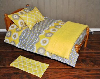 6 pc Bedding Set for 18 inch Doll Bed