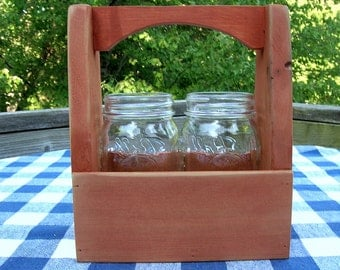 Handled Carpenter's Box Caddy - Mason Jar Holder - Centerpiece - Organizer - Burnt Orange