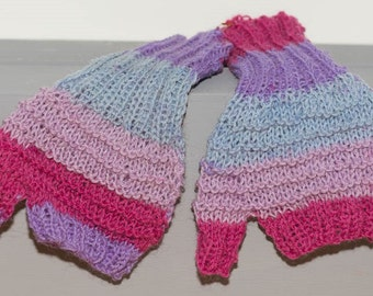 Fingerless mitts - candy stripe