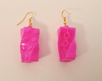 Twisted Bricks 3D printed lego earrings