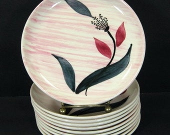 """MCM Stetson China Pink Wash Floral 6 1/4"""" Bread Butter Plates x 10 Mid Century"""