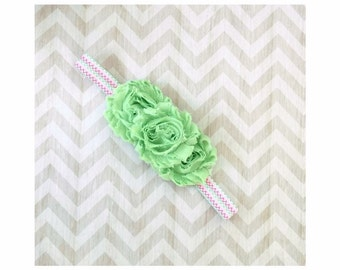 Mint & Pink Shabby Flower Headband