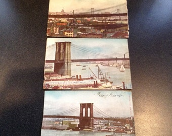 3 Vintage Brooklyn Bridge Postcards