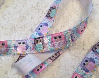 Owl Print Elastic/Owl Elastic Headbands/Elastic by the Yard/Owl FOE/Baby Headband Elastic/Owl Hair Ties