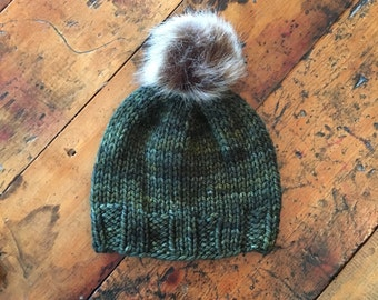 Hand-Knit Child Hat in Olive Green