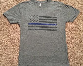 Men's Thin Blue Line Triblend - Gray