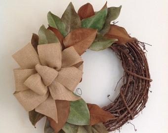 Magnolia Leaf Wreath with Bow