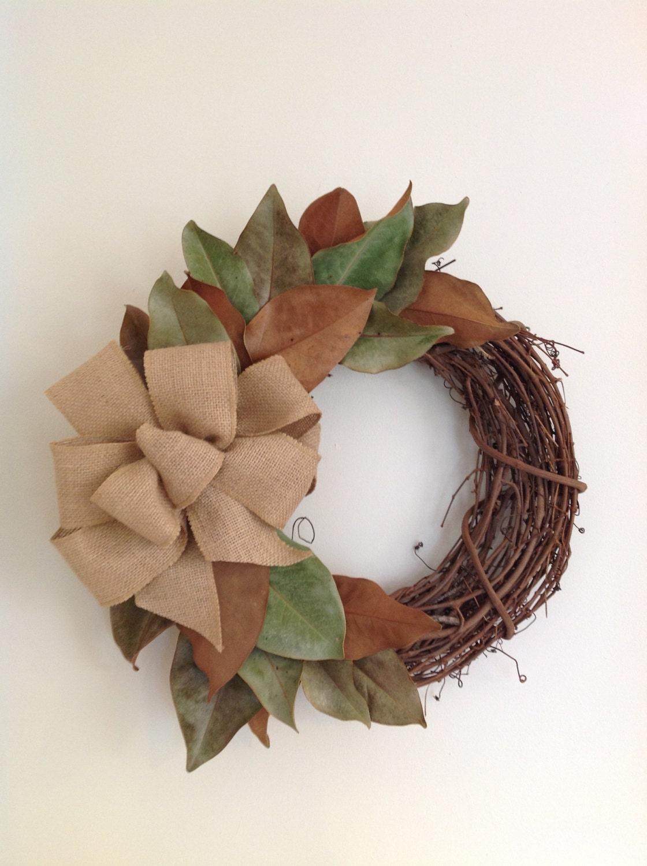 Magnolia Leaf Wreath: Magnolia Leaf Wreath With Bow