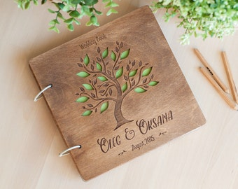 Wedding wooden guestbook in botanica style