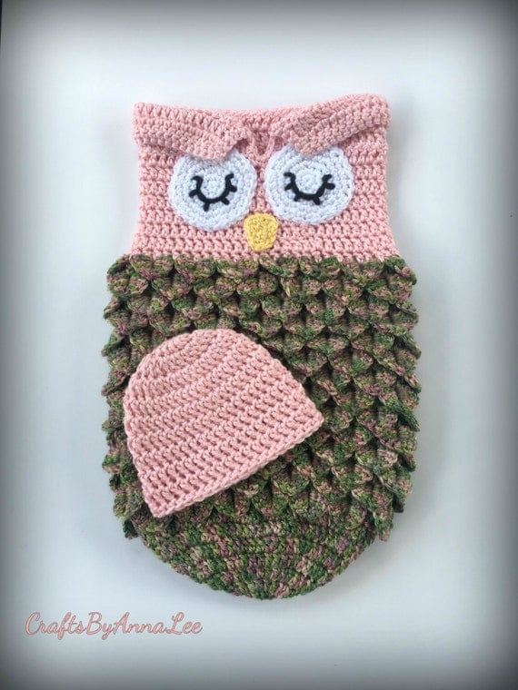 Crocheted Owl Sleep Sack/Cocoon by CraftsByAnnaLee on Etsy
