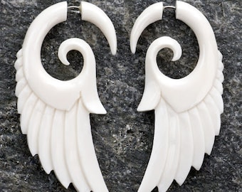 White Bone Tribal Spiral Wings Fake Gauges Earrings