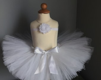 White Tutu Skirt Set, Baby Tutu, Birthday Tutu, White Headband, Newborn tutu, White Tutu, Toddler tutu, Photo Prop, Angel Tutu,Snow Princess