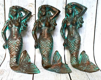 Cast Iron Mermaid Decor - Set of 3 - Mermaid Wall Hook - Wall Necklace Holder - Verdigris/ Patina - Mermaid Jewelry Hook - Nautical Key Hook