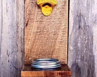 Mason Jar Bottle Opener - Wall Mounted - Groomsmen Gift - Rustic Beer Opener - Bottle Cap Catcher - Groomsman Gift - Boyfriend Gift Ideas