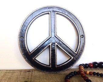 Cast Iron Peace Sign - Bohemian Decor - Hippie Wall Art - Retro Decor - Peace Sign Decor - Bohemian Art - Hippie Wall Decor - Retro Signs