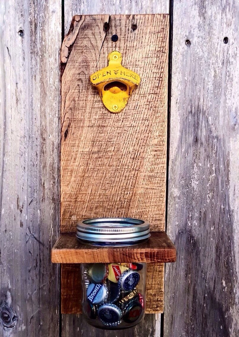 wall mount bottle opener mason jar bottle by shineboxprimitives. Black Bedroom Furniture Sets. Home Design Ideas