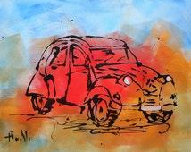 """Painting  """"La 2CV rouge"""""""