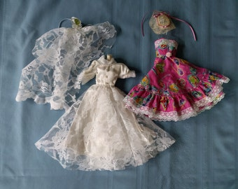 Barbie Lacey Wedding Dress with Veil and Pink Rehearsal Dinner Dress with Hat, Lace, Satin, Ribbons, Collectible, Childrens Gift, Christmas