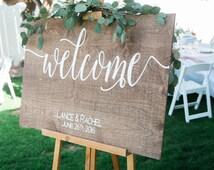 Welcome Wedding sign  Welcome sign wedding sign, wooden sign Welcome wedding, Wooden Welcome Sign, wood wedding sign welcome sign, W