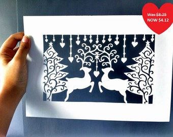 Christmas Tree & Stag DIY Papercut Template