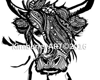 Zentangle Inspired Highland Cow