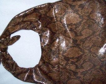 Brown snake skin look handbag,Hobo style with Velcro closer , Handmade