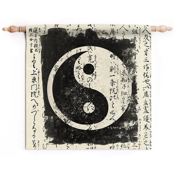 Yin and yang small tapestry wall hanging print vintage style for Decoration murale yin yang