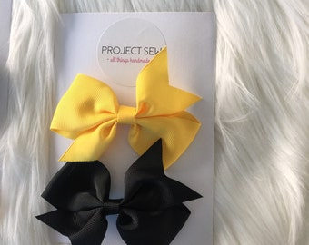 Hair Bow Set (2 Bows Black & Yellow)