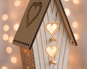 Sweetheart Birdhouse Night Light - Hearts Woodland Nursery Nightlight - Baby / Kid's Room Lamp - Wooden Baltic Birch Lantern