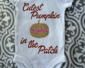 Personalized Cutest Pumpkin in the Patch baby girl onesie