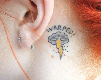 Warped Lightning - Fun Cool Hipster Temporary Tattoos Summer Party Gifts Tumblr Style