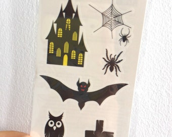 Halloween Spiderweb, Bat, Scary Mansion Tattoos Set - Temporary Tattoos // Body Art // Cool // Tumblr Style // Summer // Party