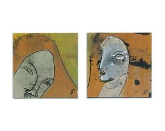"Image ""rival 1/5"" (in two parts) 2 x 10/10 cm communications 2 / two parts - diptych - portrait painting & drawings / original paintings"
