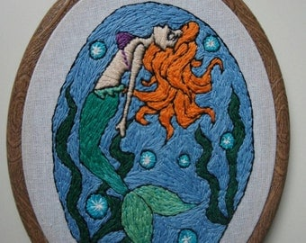 Little mermaid Ariel embroidery hoop art