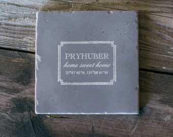 Home Sweet Home Chalk Art Marble Trivet