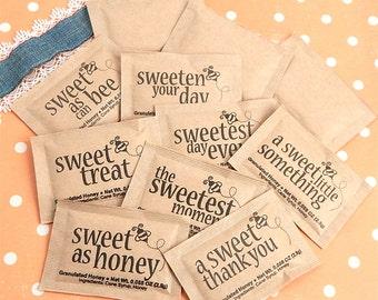 Granulated Honey Packets, Sweet Sayings, Wedding Honey Packets, Bridal Shower Honey Packets - Set of 100