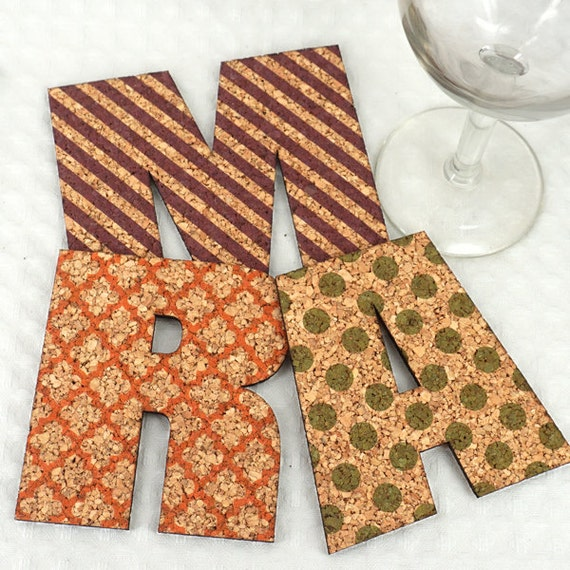 Cork Wedding Favors: Personalized Initial Cork Coaster Wedding Favors Coasters